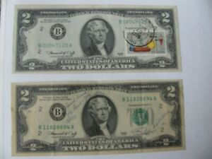 UNCIRCULATED, PO STAMPED AND CHEMISTRY STAMP, DATE OF ISSUE $2 DOLLAR BILL