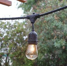 Vintage Edison Light Outdoor Garden String Lights 48 Feet S14 Bulbs Weatherproof