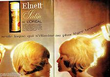PUBLICITE ADVERTISING 026  1964  L'Oréal  laque Elnette Satin (2p) couleur
