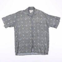 Vintage NATURAL ISSUE Green Crazy Patterned Short Sleeve Shirt Size Men's Medium