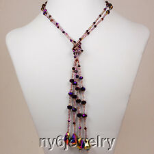 "Long Fashion Necklace 39"" Fabulous! Multi-Strands Dark Purple Crystal"
