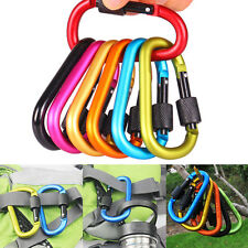 Set of 6 Aluminum Carabiner Clip D-Ring Key Chain Clip Snap Hook Screw Locking