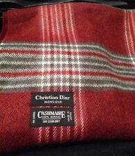 Christian Dior Monsieur Mens Muffler Plaid Scarf Grey Burgundy Made In Japan