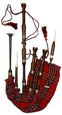Scottish Bagpipe Sheesham Wood Natural Finish Plain Mounts/Bagpipe Rosewood
