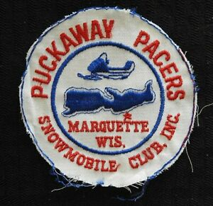 """c1972 """"PUCKAWAY PACERS SNOWMOBILE CLUB"""" MARQUETTE WI WISCONSIN CHEESECLOTH PATCH"""
