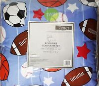 Boys Sports Twin Comforter Set Reversible with Sham 2pc Basketball Soccer New
