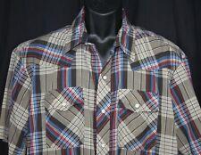 Vtg Dakota Western Shirt Rockabilly Cowboy Checked Plaid Pearl Snaps Brown 2Xl