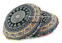 2 PC Elephant Mandala Indian Floor Pillow Cover Cotton Ottoman Poufs Bohemian