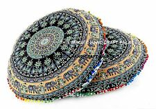 2 PC Elephant Mandala Indian Floor Pillow Cover Cotton Ottoman Poufs Bohemian