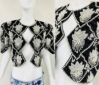 Vtg OLEG CASSINI BLACK TIE Bead Sequin Pearl Black White Bolero Evening Jacket S