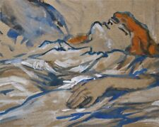 TOULOUSE-LAUTREC. Bodycolour & watercolour+blue chalk study of a sleeping woman.