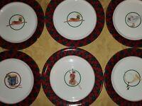 Arita Tartan JAPAN INSTRUMENTS HOLIDAY CHRISTMAS 6 SALAD PLATES 7 1/2 Holiday