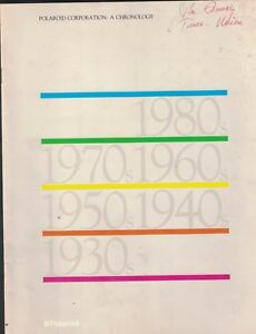 Polaroid Corporation a Chronology Booklet 1983 Film Products