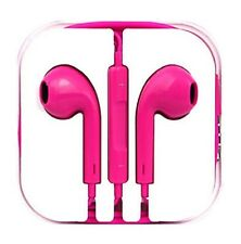 New Hot Pink Colour Headphones Earphone Handsfree With Mic For iPhone Models