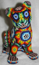 Big Mexican Huichol Beaded Resin Jaguar XL
