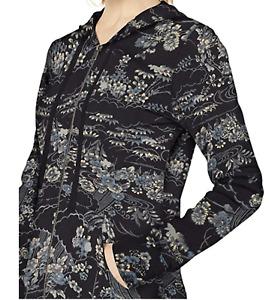 Lucky Brand NWT $99 Kimono Garden Floral Hoodie Jacket in Black Sz XS    PP11