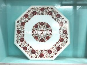 "15"" Marble Modern Elegant Coffee End Table Top Carnelian Inlay Garden Decor E135"