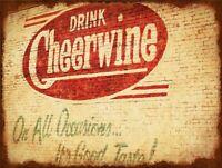 DRINK CHEERWINE SODA POP BRICK WALL HEAVY DUTY USA MADE METAL ADVERTISING SIGN