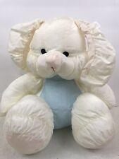 Nylon Bunny Rabbit White Blue Pink Plush Puffy Stuffed by Superior Toy vintage