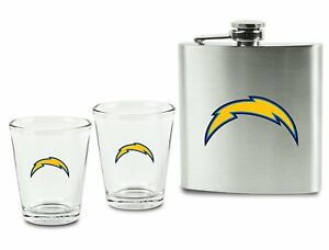 NFL Football Los Angeles Chargers Hip Flask And 2 Glasses Shot Glasses