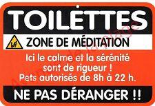 """Plaque de porte humoristique Zone de Danger """"Toilettes"""" idée cadeau NEUF"""