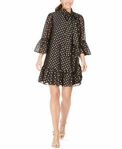 Calvin Klein Womens Shift Dress Gold Black Size 4 Tie Neck Metallic Dot $139 389