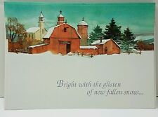 Christmas Cards Snow Covered Farm Country Barn Scene by Paper Magic ( 6 ) unused