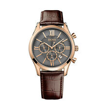 Hugo Boss 1513198 Men's Chronograph Leather Band Stainless Steel Case Watch