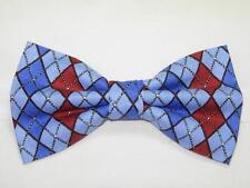 (1) PRE-TIED BOW TIE - RED, LIGHT BLUE & ROYAL BLUE ARGYLE