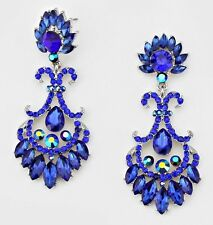"2.75"" Long Silver Royal Blue Dangle Rhinestone Austrian Crystal Pageant Earrings"