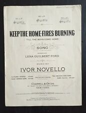 "WWl 1917 Signed Sheet Music ""Keep The Home-Fires Burning"""