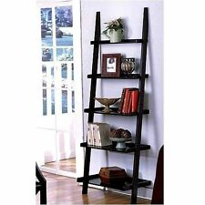 Leaning Ladder 5 Tier Display Shelf Bookshelf Bookcase Wood Black Organize New