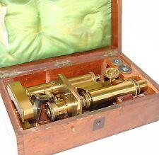 VINTAGE DR. E. HARTNACK POTSDAM HIGH GRADE MICROSCOPE WITH WOODEN BOX circa 1870