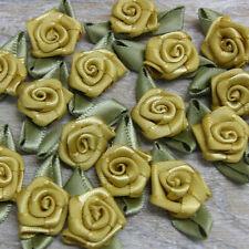 50 x ROSE BUDS SATIN RIBBON FLOWERS ROSEBUDS FLOWERS  SCRAPBOOKING 30x17mm