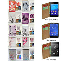 For Sony Xperia Series - Butterfly Vector Print Wallet Mobile Phone Case Cover