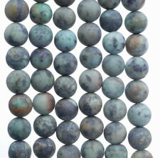 10MM MATTE AFRICAN TURQUOISE GEMSTONE ROUND LOOSE BEADS 7.5""