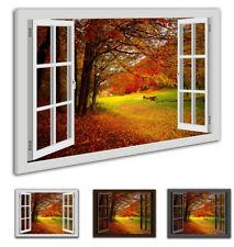 Leinwandbild Wandbild  Fensterblick-Herbst  Wald Natur Landschaft