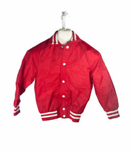 Vintage Hilton Red Snap Up Lined Jacket Youth Size 10-12 Coaches Wind Breaker