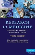 Research in Medicine : Planning a Project – Writing a Thesis by Juliet A....