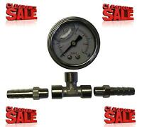 Fuel Pressure Test Gauge Kit With Inline Adaptor & 8mm Hose Tails For Pump Rail