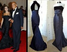 OSCAR DE LA RENTA STUNNING BLACK VELVET TAFFETA LONG DRESS GOWN RUNWAY US 8