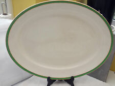 1936 - 39 LARGE BISHOP & STONIER OVAL PLATTER WITH GREEN AND GOLD COLOURED BANDS