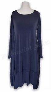 MarlaWynne Luxe Crepe Jersey Scoop Neck Balloon Dress Midnight Blue Size XS NEW