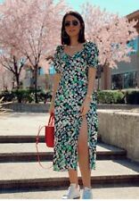 H&M Green Floral Puff Sleeve Cotton Midi Dress -UK 8 Bnwt  - Sold Out!