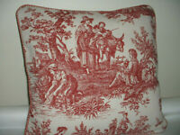 """COUNTRY LIFE Toile by Waverly Throw Pillow Cover 18""""X18""""   Hand Made"""