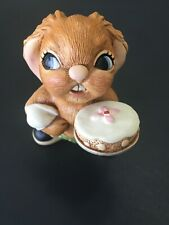 Pendelfin Rabbit Scoffer Green Pants With Cake Hand Painted Stoneware England