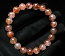Rutilated Quartz Crystal Beads Bracelet 9mm Natural Red Copper Hair