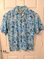 Joe Marlin Button Down Short Sleeves Floral Blue - Large