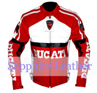 Ducati Biker Motorcycle Racer Genuine Cowhide Leather Rider Jacket with Armour