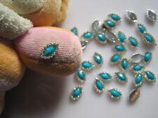 10pcs Crystal Rhinestone Green Stone Oval Metal Deco Charms Nail Art MD-509